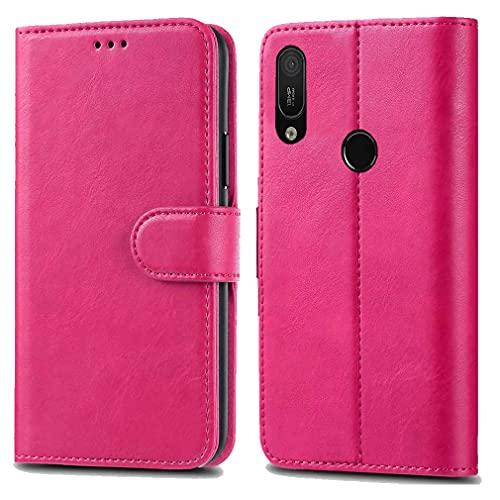 Huawei Y6 Y6s Pro 2019 / Honor 8A Pro Ledertasche - Premium Wallet Hülle Leder Flip Cover für Huawei Y6 Y6s Pro 2019 / Honor 8A Pro 6.1 Zoll [Kartenhalter] [Magnetverschlus] (Pink)