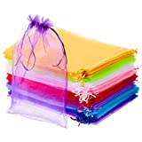 100 Pieces Mixed Color Goodie Bags 8 x 12 Inches Large Organza Bags Draw String Jewelry Pouch Mesh...
