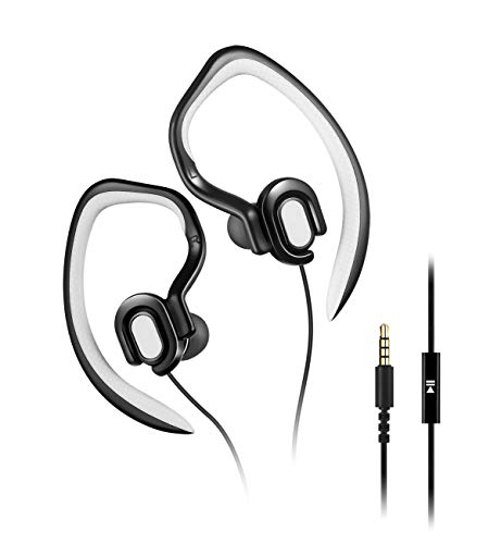Sport Earphones In-Ear Earbud with Microphone Earbuds for Running Workout Stereo Headphones and Noise Isolating Headset(Black)