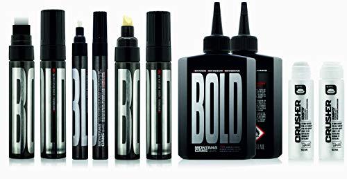 Montana Bold Marker Set black waterproof tiefschwarz permanente Tinte Graffiti Leinwand Stifte im Alutank und empty Squeezer Marker