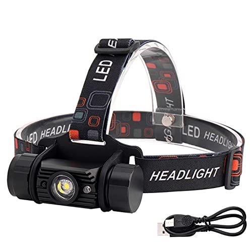 LED Linterna Frontal USB Recargable, Cap Light Impermeable Ligera Súper Brillante de 2 Modos, para Acampar al Aire Libre, Pesca, Caza, Headlamp LED
