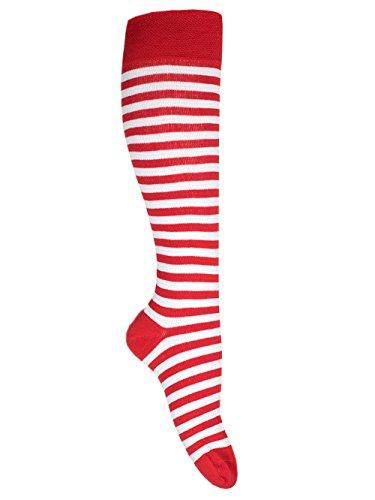 Goldschmidt Kostüme Ringelstrümpfe Ringelsocken Erwachsene Kinder vers. Farben&Größen gekämmte Baumwolle (31/34, rot weiß)