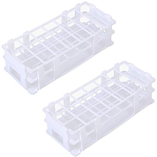 Plastic Test Tube Rack - Buytra 2 Pack 21 Holes Lab Test Tube Rack Holder for 30mm Test Tubes, Detachable, White