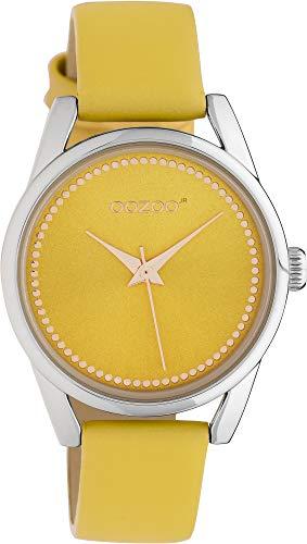 Oozoo JR306 - Reloj de pulsera para mujer (correa de piel, 32 mm), color amarillo y amarillo