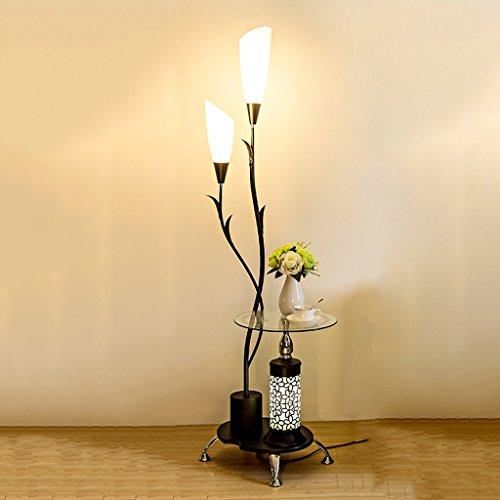 QX IAIZI vloerlamp staande lamp twee lampenglas frames, gesneden zuilen, woonkamer slaapkamer salontafel staande lamp