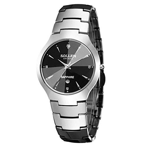 CcCoCc Stahl Uhr Zeigeranzeige Quarzwerk wasserdicht Scratch Schmiedeeisen Uhr, Sliver, A