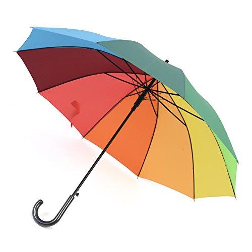 Rainbrace Ombrello da Pioggia Unisex, Manico Lungo Fantasia Arcobaleno, Ombrello Grande da Golf da Passeggio Antivento con 10 Stecche