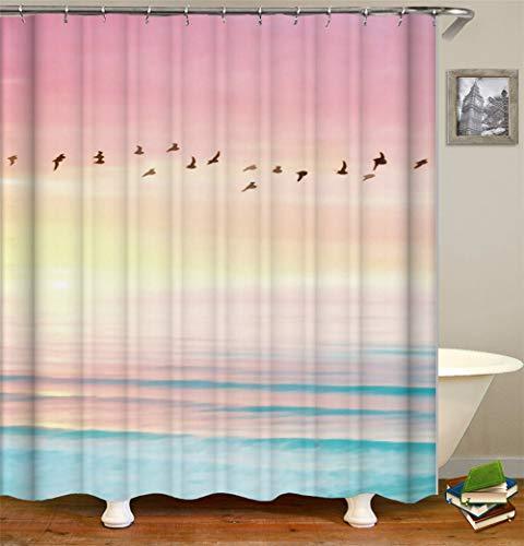 ChickwinDuschvorhangWasserdichtAnti-SchimmelShower Curtain Waschbar PolyesterBadezimmer Gardinenmit12DuschvorhangringefürBadezimmerDecor- Sommer 3D Meereswelle (Rosa,90x180cm)
