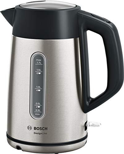 Bosch TWK4P440 DesignLine kabelloser Wasserkocher, Ausgießen ohne Spritzer, Tassenanzeige, Wasserstandsanzeige, Überhitzungsschutz, 1,7 L, 2400 W, Edelstahl/schwarz