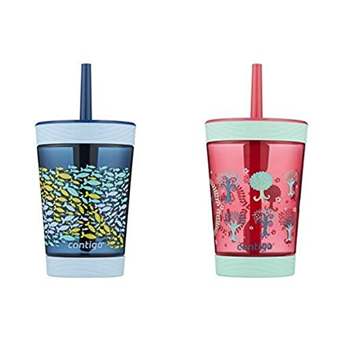 Contigo Kids Tumbler with Straw | Spill-Proof Tumbler with Straw for Kids, 14oz, Nautical Blue AND Contigo Spill-Proof Kids Tritan Straw Tumbler, 14 oz, Sprinkles Pink