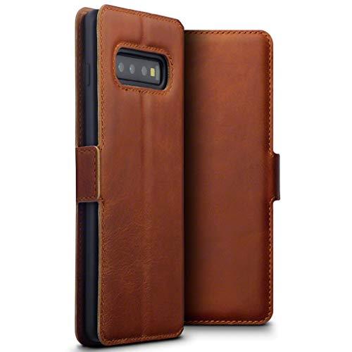TERRAPIN, Kompatibel mit Samsung Galaxy S10 Plus Hülle, Premium ECHT Spaltleder Flip Handyhülle Samsung Galaxy S10 Plus Tasche Schutzhülle - Cognac