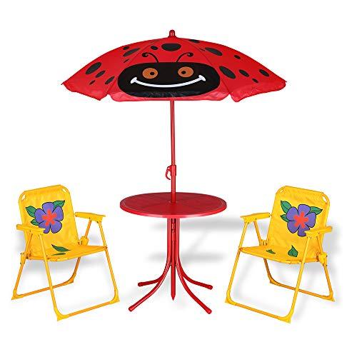 Deuba Kindersitzgruppe Gartentisch 2X Klappstuhl | Sonnenschirm | UV Schutz | abgerundete Ecken | bis 35kg | Tisch Stühle Gartenmöbel für Kinder