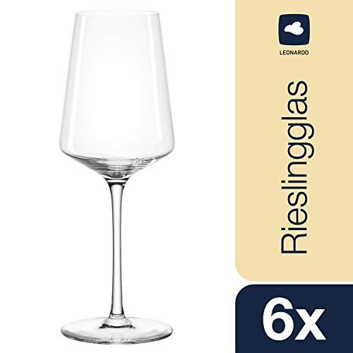 Leonardo Puccini Riesling-Gläser, Weißwein-Kelch mit gezogenem Stiel, spülmaschinenfeste Wein-Gläser, 6er Set, 400 ml, 069540