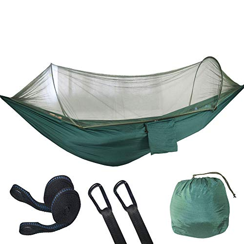 PortableDoubleHammocks Outdoor Garden with Storage Bag + Strap,300kg Load Capacity (290x140cm) Green Hiking Tent for Trees with Net, Hammocks Automatic Pole Support Outdoor Camping, Ultra-light Po