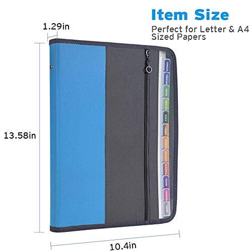 Sooez Expanding File Folder with Sticky Labels, 13 Pocket Accordion File Folder Document Organizer Expanding Zip File Folder with Zipper Closure, Letter A4 Paper Document Accordion Folder, Blue Photo #2