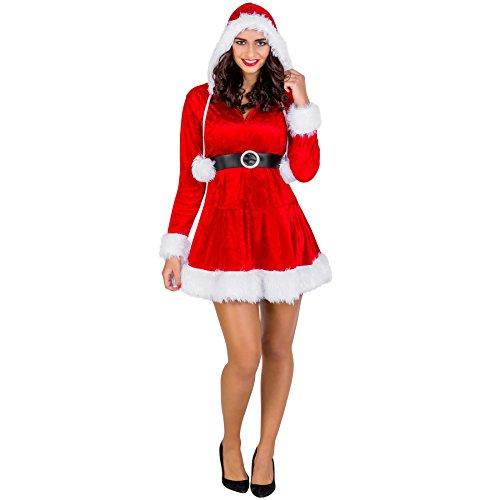 dressforfun Costume da donna - Mrs. Santa Claus | Abito sexy con cappuccio | Nastrini applicati con morbidi pompon (XXl | no. 300487)