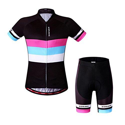 GWELL Damen Radtrikot Fahrradbekleidung Set Trikot Kurzarm + Radhose mit Sitzpolster L