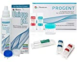 Menicon Progent Biweekly Contact Lens Cleaner and Menicon Unique pH Multi-Purpose Solution 4 Oz Bundle of 2 Items