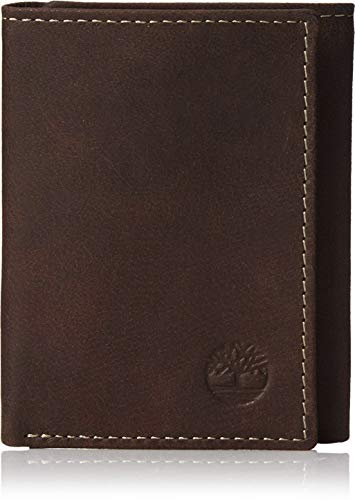 Timberland Mens Leather Trifold Wallet With ID Window, Brown (Blix), One Size