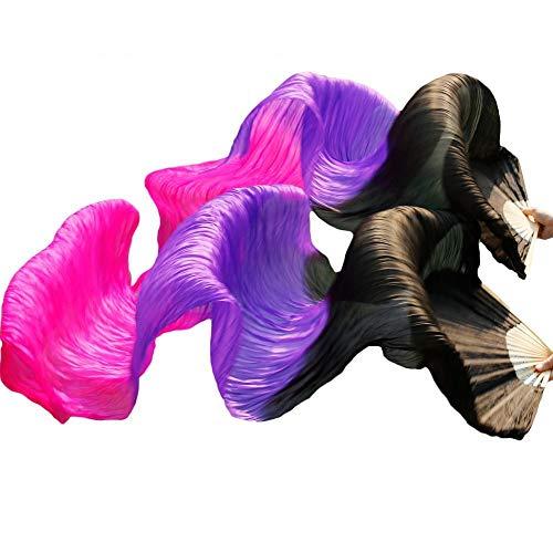 シルクファンベール 2本セット シルク100% ベリーダンス ファンベール シルクファンベール ベール シルク 衣装 扇子 団扇 舞台 小道具 アクセサリー 扇子 団扇 (黒紫ローズ)