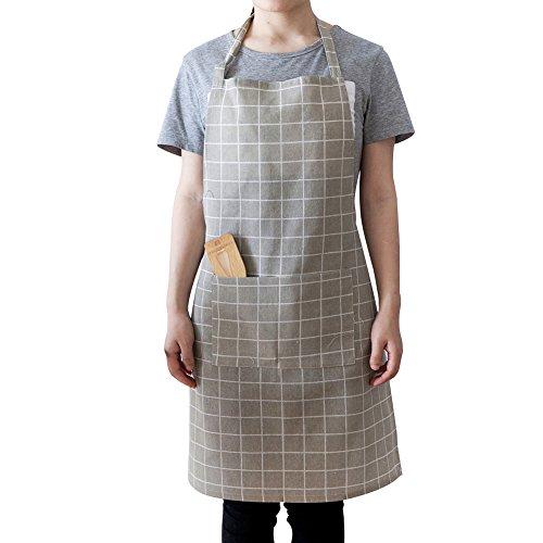 CAheadY Beiläufige justierbare Plaid-Baumwollhaushalts-Küche, die Reinigungs-dauerhafte Schürze kocht Grey