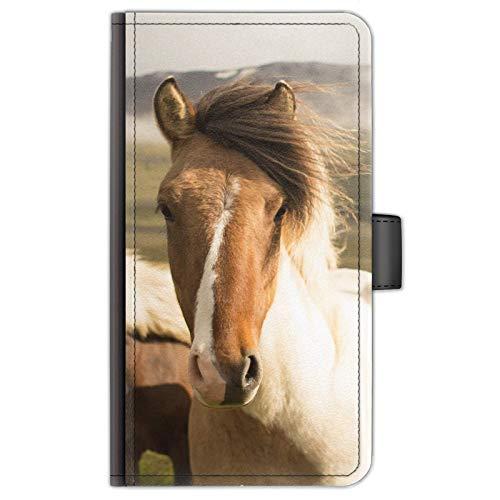 Hairyworm Pferd Pony Leder Seite Flip Tasche Handy Schutzhülle/Hülle with 3 Kartenfächer, Papier Schlitz, Magnetverschluss - Braune & Weiß Pony, Huawei Nexus 6P (2015)