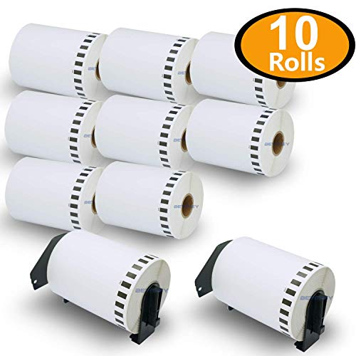10 Rolls Brother-Compatible DK-22243 102mm x 30.48m Continuous Label with One Refillable Cartridge