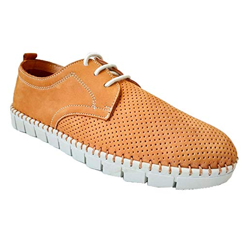 Zapato Cordones Hombre Ancho Especial cómodos Super Flexibles Primocx en Camel