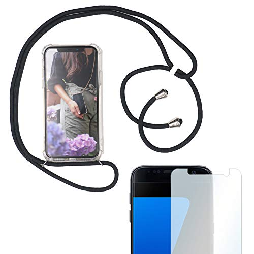 Eximmobile Handykette + Folie Schutzhülle kompatibel mit Samsung Galaxy J4+ Plus 2018 Handyhülle mit Band Seil Schwarz Schnur Hülle Umhängen Handytasche Umhängehülle Kette Kordel Silikoncase Tragen