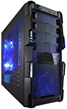 Apevia X-HERMES-BL ATX Mid Tower PC Gaming Case with 5 Fans, Large Blue Tinted Side Window, Front USB2.0/USB3.0/Audio Ports, Hard Drive Hot-Swap Bay - Black/Blue