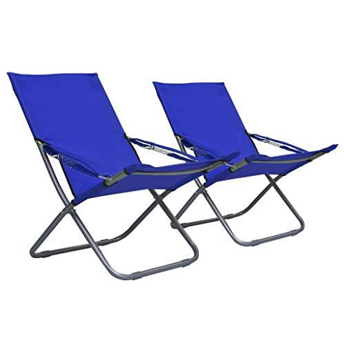 Festnight 2 pz Sedie da Spiaggia Pieghevoli in Tessuto 58 x 76 x 88 cm Sedia da Campeggio Pieghevole Reclinabile in 3 Posizioni Seggiole Campeggio