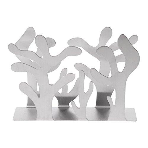 Ser-NMBGH - Servilletero para mesa o encimera de cocina, soporte para servilletas de acero inoxidable, modelado de plantas y celosía