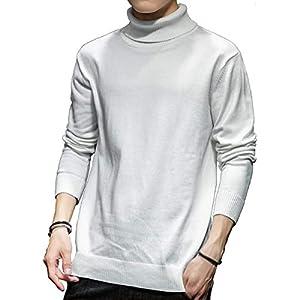 SUN BROSE(サン ブローゼ) メンズ タートルネック セーター 長袖 ニット コットン 素材 ホワイト L