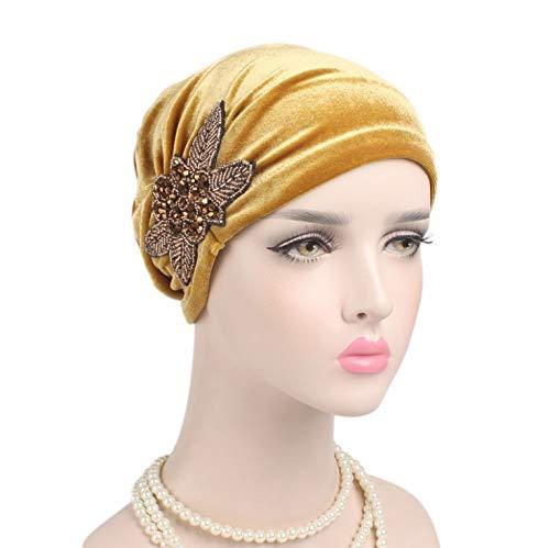 NgMik Gorras de Turbante para Mujeres 5pcs Turbante Sombrero Terciopelo Plisado Capucha Sombrero con Cuentas Accesorios de Flor Gorante de Gorra Turbante Plisado (Color : Gold, Size : One Size)