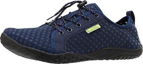 WHITIN Men's Barefoot Water Shoes Minimalist Aqua Sneakers Wide Toe Box 5 Five Fingers Minimus Size 11 Low Zero Drop Gym Workout Fitness Casual Male Dark Blue 44