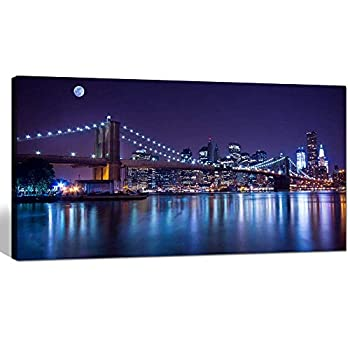 sechars - Brooklyn Bridge Canvas Wall Art Large Size 24 x48  Modern New York City Canvas Print Manhattan Skyline with Full Moon Giclee Wall Art for Home Office Wall Decor Framed and Ready to Hang