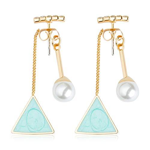 ZHDXW Pendientes de tuerca triángulo colgante Simulación Flash Crystal Pearl Pendientes triángulo y redondo asimétrico geométrico espalda gota Pendientes (azul)