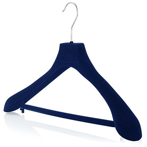 HANGERWORLD 10 Grucce Antiscivolo 42cm in Velluto Blu con Spalline Larghe e Barra Portapantaloni