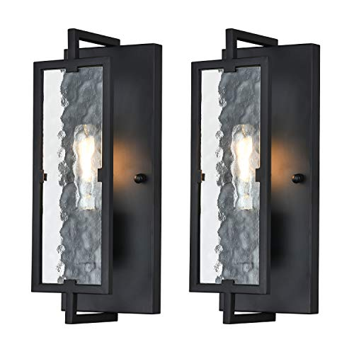 ANJULL Black Sconces Wall Lighting,Rustic Farmhouse Wall Sconces Set of Two,Candle Bedroom Wall Lamp for Living Room Corridor Hallway Kitchen Island, 2 E26 Bulb Included.