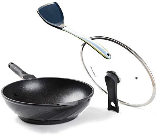 LBWARMB Casseruola Antiaderente Pan Maifan Stone Wok Non-Stick Pan Multi-Funzione Cooking Pot Pentole Induzione Gas 32 * 9.5cm, 4 Colori Padelle Fritte (Color : B)