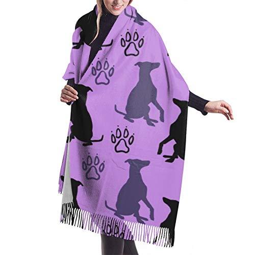 Damen Herbst Winter Schal Whippet Shadows Lila Klassischer Schal Warm Weich Groß Decke Wrap Schal Schals