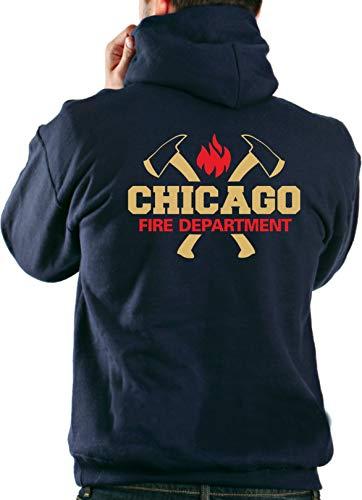 feuer1 Kapuzensweat Navy, Chicago Fire Dept. mit Äxten und Standard-Emblem in Gold-rot