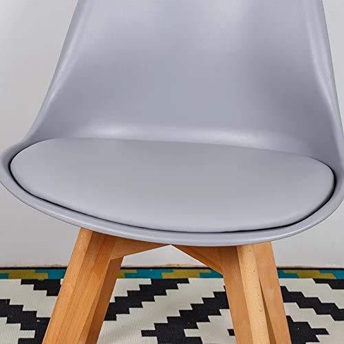 Un conjunto de cuatro silla de sala de oficina silla de tulipán de la vendimia con las piernas de roble macizo y asiento de cuero,Grey