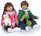 Twins Real Toddler Reborn Babypuppe, 24 Zoll weiches Silikon Vinyl Mädchen und Junge, Tina und Jack mit 3-9M Baby Kleidung Set und schöne Schnullerflasche, Mädchen