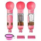 Sorliva - Bottiglie d'acqua per cani, 3 in 1, portatile, a prova di perdite, per animali domestici, per passeggiate, escursioni, viaggi, con ciotola pieghevole e anti-soffocamento, colore: rosa