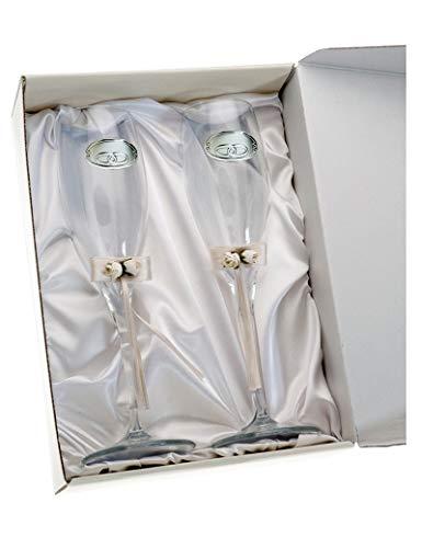 Copas Bodas Novios Personalizadas con Grabado en Cristal Lazo