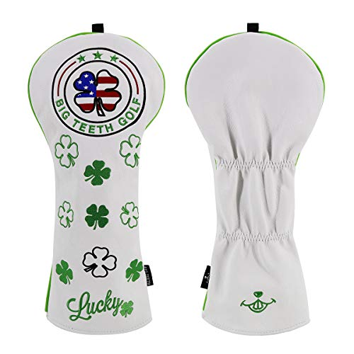 Big Teeth Golf Head Covers Driver Headcover 460cc #1 Golf Club Protector PU Leather for Taylormade Titleist (Lucky Clover)
