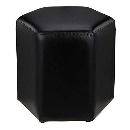 Gewatteerde voetenbank, gevoerde voetenbank, kruk voor bank, kruk, draagbare zitting, multifunctioneel, ruimtebesparend, korte kruk van leer, hexagonaal en modern