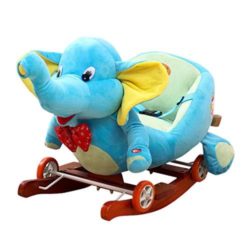 Caballito de Madera Caballo Mecedora Juguete Lindo Moda De Madera Juguete De Interior Patio De Infantes Kinder Niño Niña Niño (Color : Blue)