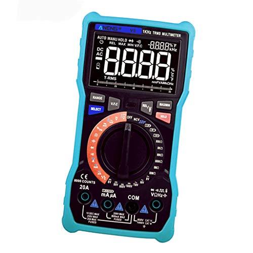 F Fityle Multímetro Digital LCD con Verdadero Eficaz, Probador de Voltaje de Diodo de Medidor de Ohmios de Amperios Electrónicos Azules